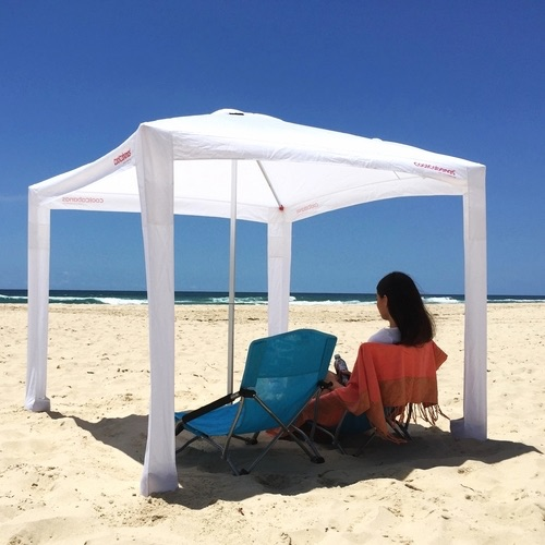 Much Like The Traditional Umbrella Cool Cabana Features A Light Weight Aluminum Center Pole Which Has Sand Spike Used To Anchor Into